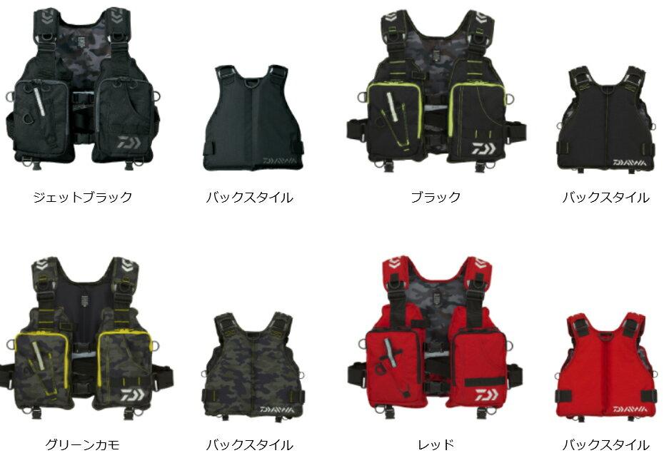ダイワ(daiwa) DF-6406 ライトフロートゲームベスト ブラック/グリーンカモ/レッド/ジェットブラック
