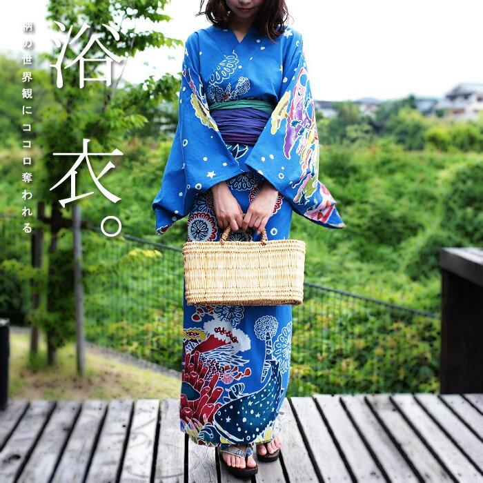 沖縄を代表する伝統的な染色技法、紅型をイメージしたプリント柄の3WAY浴衣 ワンピース スカート お出かけ アンティカフェ apa a/s