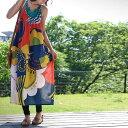 個性光るイロドリ豊かな印象派ワンピ ロング丈 ポケット付き カラフル キャミワンピ ワンピース アンティカフェ