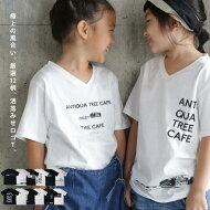 オリジナルTシャツキッズロゴ半袖夏お洒落コーデデザインお出かけカジュアルスタイリッシュアンティカフェ