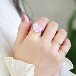 リング ハート ピンク グラデーション ミルキークォーツ 天然石 封入 フリーサイズ 指輪 | アクセサリー レディース 女性 大人 プレゼント ギフト 結婚式 誕生日 おしゃれ オシャレ 可愛い シ