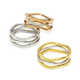 【送料無料】リング スリーライン ウェーブ ステンレス 11号 13号 指輪 | ステンレスリング ステンレス製 ステンレスアクセサリー ファッションリング アクセサリー レディース 女性 大人 結婚式 誕生日 おしゃれ オシャレ シンプル 20代 30代 40代 50代 ゴールド シルバー