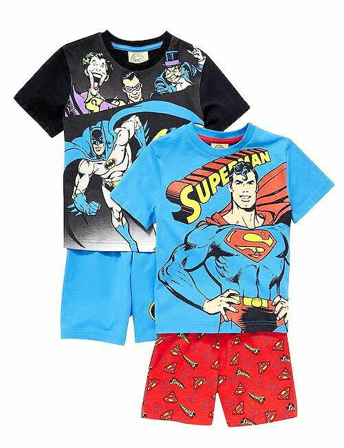 送料無料DC コミックス/スーパー ヒーロー【スーパーマン & バットマン】パジャマ半袖 2点セット/今夜も 安心して眠れそう【送料無料 発送はネコポス便】2点 セットでこの価格
