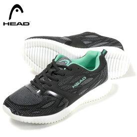 HEAD ヘッド レディース ローカットスニーカー シューズ 女性用 靴 くつ HD-1287 紐 ひも ブラック 黒 軽量 ランニング ジョギング 22.5 23 23.5 24 24.5【ラッキーシール対応】