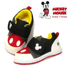 あす楽 Mickey Mouse ミッキーマウス キッズ・ベビー用スニーカーシューズ DS0180 Disney ディズニー 子供 トドラー 男児 男の子 女児 女の子 靴 くつ ベルクロ マジックテープ ブラック 12.5 13 13.5 14 14.5 送料無料【ラッキーシール対応】