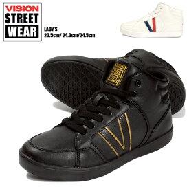 VISION STREET WEAR MESA スニーカーシューズ 23.5 24.0 24.5 レディース ヴィジョンストリートウェア VSW-6113 ハイカット ミッドカット 合成皮革 合皮 レースアップ 靴 くつ ダンス 黒 白 ゴールド トリコロール ブラック ホワイト あす楽 送料無料