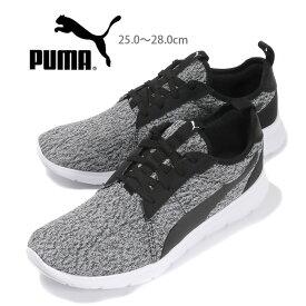 PUMA Flex Fresh Mesh メンズローカットスニーカーシューズ 25 25.5 26 26.5 27 27.5 28 プーマフレックスフレッシュメッシュ 370512 男性用 軽量 靴 くつ レースアップ 紐 ひも ニット 黒 ブラック あす楽 送料無料