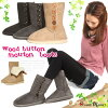 2way mouton boots / suede cloth bootie with five Wood button ☆ short length fur