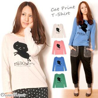 Cat print long sleeves T-shirt cut-and-sew cat cat crew neck U neck oatmeal pink blue-green M L
