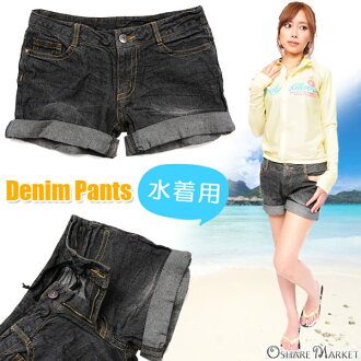 There is black denim short pants denim underwear show bread crease-making processing XS S M roll-up lady's small size