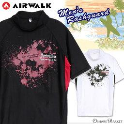 大的尺寸有,供名牌泳衣☆AIR WALK的男子的事情短袖高峰保護空氣行走男性使用的套衫UV塊紫外線防止黑色白S M L LL