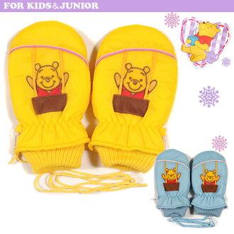 迪士尼明星小熊维尼的滑雪手套熊维尼迪斯尼小熊维尼孩子孩子女孩女孩手套滑雪回来刷手套羊毛蓝色黄色 115 厘米 16 厘米 5 岁 6 岁
