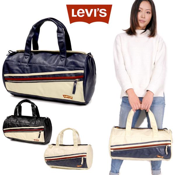 LEVI'S リーバイス ドラムバッグ ボストンバッグ ショルダーバッグ ロールボストン 7720006 かばん 鞄 ジッパー ファスナー メンズ レディース 男性 女性 合成皮革 ブラック ネイビー アイボリー