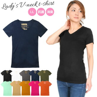 Big size Lady's Shin pull plain fabric short sleeves T-shirt cut-and-sew half sleeve V neck deodorant cool deodorization antibacterial sweat perspiration fast-dry stretch-related black white charcoal navy khaki mint Mocha mustard cherry pink orange LL ※S