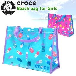 crocs鐘表海灘包遊泳包遊泳池包乙烯樹脂包透明包127-554小孩小孩女人的子女兒童女孩子遊泳遊泳包包總花紋冰激凌鳳梨包藍色粉紅