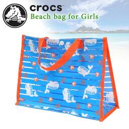 crocs鐘表海灘包遊泳包遊泳池包乙烯樹脂包透明包127-553小孩小孩女人的子女兒童女孩子遊泳遊泳包包鯨鯨Ikari錨橫條紋包藍色