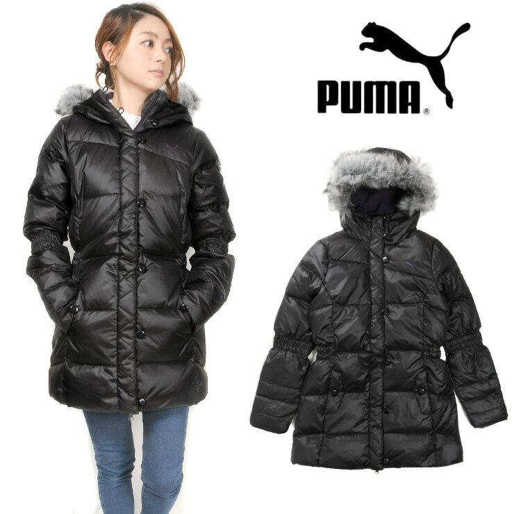 【送料無料】大きいサイズあり PUMA レディースダウンジャケット 827606 女性 婦人 プーマ フード付き アウター ジップアップ フルジップ 長袖 長そで ロング フェイクファー ブラック パープル S M L XL【ラッキーシール対応】