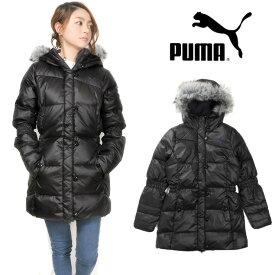 大きいサイズあり PUMA レディースダウンジャケット 827606 女性 婦人 プーマ フード付き アウター ジップアップ フルジップ 長袖 長そで ロング フェイクファー ブラック パープル S M L XL 送料無料【ラッキーシール対応】