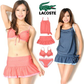 Product made in bikini swimsuit four points set Lady's 26121 separate tank top flare halterneck swimming wear dot waterdrop navy red Japan 7S 9M 11L with the LACOSTE Lacoste tops & skirt which there is small size in