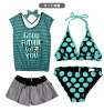 Pink turquoise purple 7S 9M 11L with bikini swimsuit four points set woman swimming wear shorts horizontal stripe stripe dot waterdrop tops with SUPER LOVERS supermarket rubber gap Dis short pants