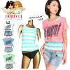 Tank top bikini swimsuit four points セットフィオルッチ 224-608 Lady's woman woman swimwear tank top horizontal stripes shorts show bread denim studs T-shirt white blue pink mint green 7S 9M 11L 13L with the Fiorucci short pants which there is big size in