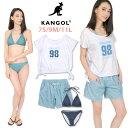 KANGOL レディース用Tシャツ付きビキニ水着4点セット 7S 9M 11L カンゴール 128206 女性 トップス カットソー ノンワイヤー ホルターネック ショートパンツ 短パン 紺 青 ネイビー ブルー あす楽 送料無料