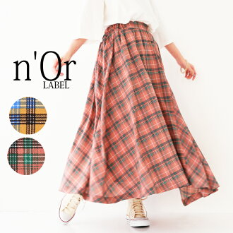 """A n'Or checked pattern asymmetric long skirt"""