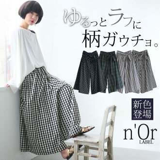 """""""n'Or whole pattern relaxation gaucho pants"""" [wide underwear Lady's bottoms gaucho long length maxi length full-length gingham check stripe pattern checked pattern dot pattern ノアール]"""