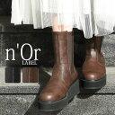 選べる S M L LL 3Lサイズ展開!『n'Orサイドゴア厚底ミドルブーツ』[ブーツ サイドゴア レディース 秋冬 ミドル丈 厚…