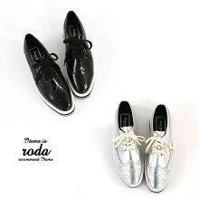【送料無料】『ウイングチップメタリックシューズ』[シューズレディース靴ローヒール革靴]【メール便不可】