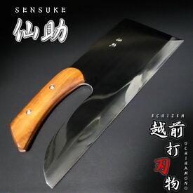 仙助 蕎麦包丁 鏡面仕上げ 越前打刃物 麺切包丁 安来鋼青紙二号 330mm アイアンウッド柄