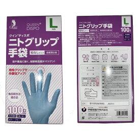 ニトグリップ手袋(100枚入り) 粉なしタイプ 超極薄仕様 食品衛生法適合品