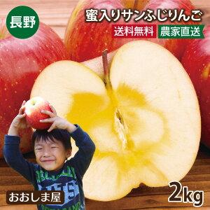 長野県産 蜜入りサンふじりんご 2kg 大小さまざま(5玉-8玉前後)<12月上旬より順次出荷>グルメ フルーツ 果物 送料無料 産地直送 大嶌屋(おおしまや)