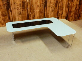【アウトレット】 BONTEMPI CASA (ボンテンピカーサ) W1100 ガラス天板 センターテーブル ホワイト×ブラック 【A】 【Q0203-01】