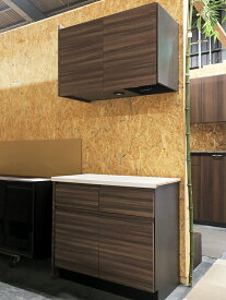 【展示品】 モデルルーム特注品 W820 クォーツストーン天板 食器棚 木目調ブラウン 【O0113-01】