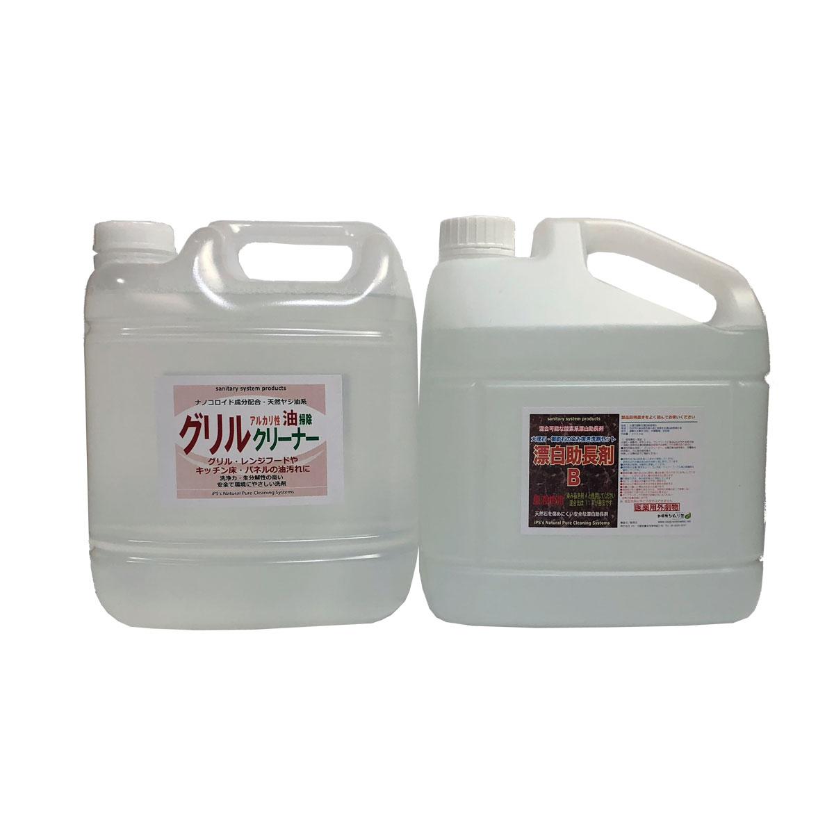 モルタル洗浄用 アルカリ洗剤A液4.0Lと漂白助長剤B液4.0Lのセット
