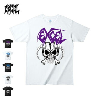 f54c24fd16 OSS CLOTHING  100% of EXCEL (Excel) SKULL  amp  HORN T SHIRT official  merchandise band T-shirt scull crossover hard core cotton short-sleeved  white   black ...