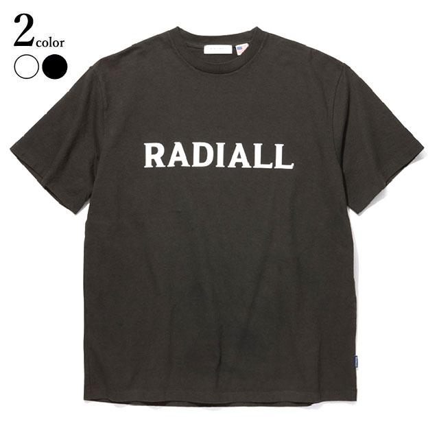 【メール便送料無料】 RADIALL (ラディアル) LOGO TYPE - CREW NECK T-SHIRT S/S Tシャツ メンズ ブランド ロゴ プリント 19春夏 USA 綿100% 半袖 クルーネック 製品染め 黒/白 M/L 【あす楽対応】