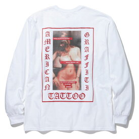 【メール便送料無料】 ラスト1点! RADIALL (ラディアル) USC - CREW NECK T-SHIRT L/S Tシャツ 長袖 メンズ 19春 米綿 USAボディ ロゴ プリント 白 S-L 【あす楽対応】