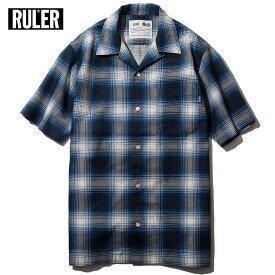 【送料無料】 RULER (ルーラー) PANAMA CHECK SHIRTS ルーラー シャツ パナマ生地 夏 オープンネックシャツ 青/黒 M-XXL