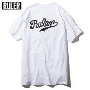 【メール便送料無料】RULER(ルーラー)SCRIPTTEETシャツストリートブランドメンズ綿100%白/バーガンディー/ネイビー/黒M-XXL