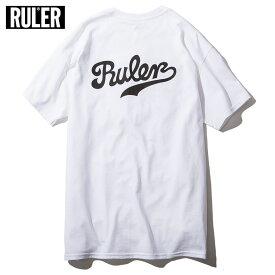 【メール便送料無料】 RULER (ルーラー) SCRIPT TEE Tシャツ ストリート ブランド メンズ 綿100% 白/バーガンディー/ネイビー/黒 M-XXL