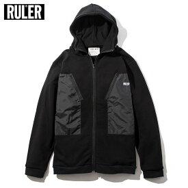 【送料無料 / 代引料込】 RULER (ルーラー) MILITIA ZIP SWEAT HOODIE パーカー メンズ ストリート ブランド スウェット ジップアップ 黒 M-XXL