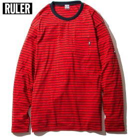 【メール便送料無料】 RULER (ルーラー) BORDER POCKET LONG TEE ボーダー Tシャツ 長袖 メンズ 白/ゴールド/赤 M-XXL