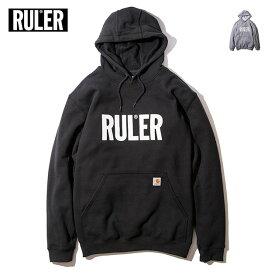【送料無料 / 代引料込】 RULER (ルーラー) ICON CARHARTT SWEAT HOODIE パーカー ブランド メンズ 18冬 スウェット プルオーバー カーハートボディ 黒/グレー M-XXL