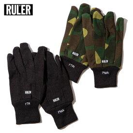 【メール送料無料】 RULER (ルーラー) COTTON WORK GLOVE 手袋 メンズ 秋冬 綿 防寒 黒/カモ柄