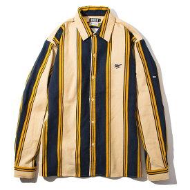 【送料無料】 RULER (ルーラー) CORDUROY STRIPE SHIRTS ストライプシャツ メンズ 19冬 コーデュロイ 長袖 厚手 黄色/白 M-XXL 大きいサイズ 【予約】