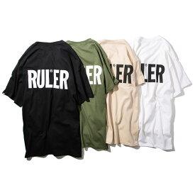 【メール便送料無料】 RULER (ルーラー) ICON TEE Tシャツ メンズ 厚手 半袖 プリント 黒 白 グリーン M L XL XXL 大きいサイズ