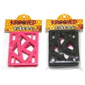 【メール便可 / 送料160円】 KROOKED (クルキッド) RISERS ライザーパッド スペースパッド スケボー 1/8inch 1/4inch ピンク/黒 2枚入り 【あす楽対応】