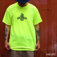 【メール便送料無料】OURLIFE(アワーライフ)IGNITIONBARRELS/STEETシャツスケボーメンズ半袖蛍光グリーンM-XL【あす楽対応】